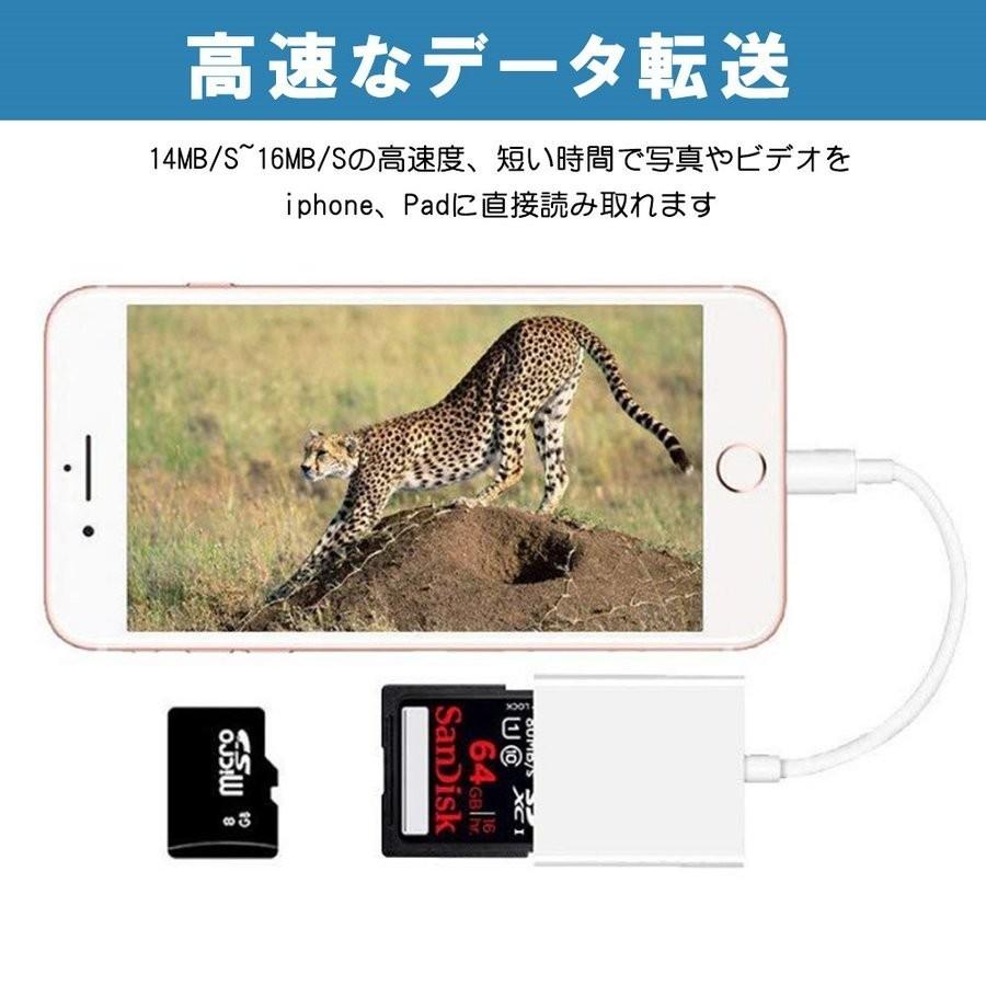 SDカードリーダー iPhone TFカードカメラリーダー ios14双方向転送