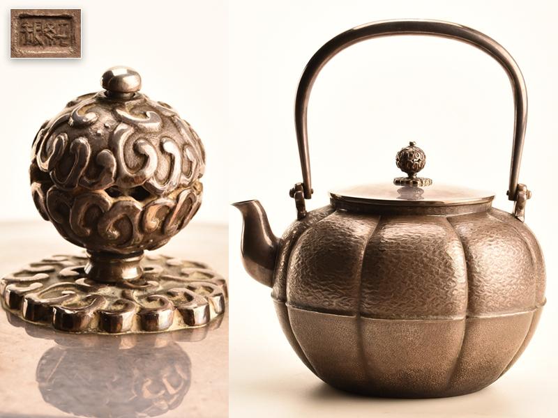 【流】煎茶道具 純銀製湯沸 銀瓶 重量878g 共箱 KB548