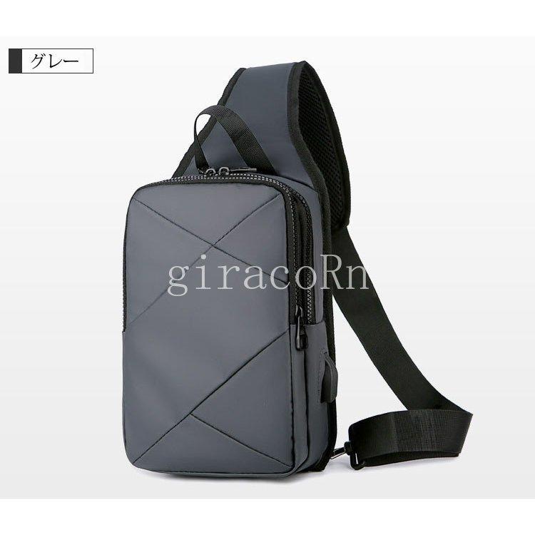 新品ボディバッグ メンズ ワンショルダー おしゃれ カバン かばん 鞄 軽量 斜めがけ 肩掛け USB充電ポート 撥水 通勤 通学 アウトドア バ