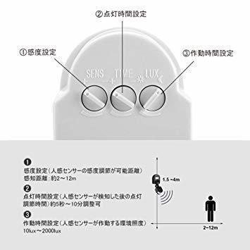 白い AC 110~240V赤外線センサースイッチ 人感センサースイッチ 調節可能 LEDライト、コンパクト蛍光灯、白熱電球など_画像4