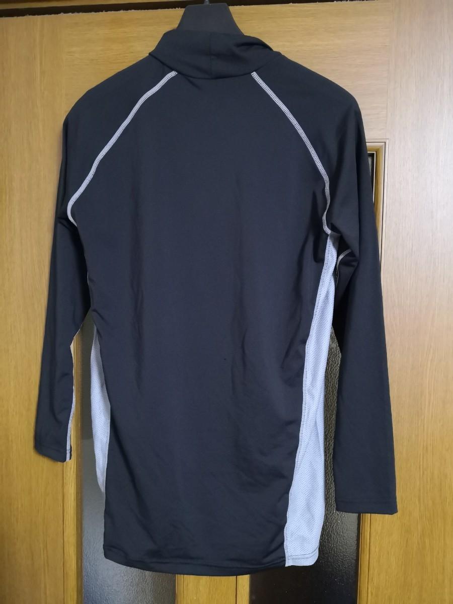 おたふく 冷感 消臭パワーストレッチ 長袖バックハイネックシャツ LL ブラック