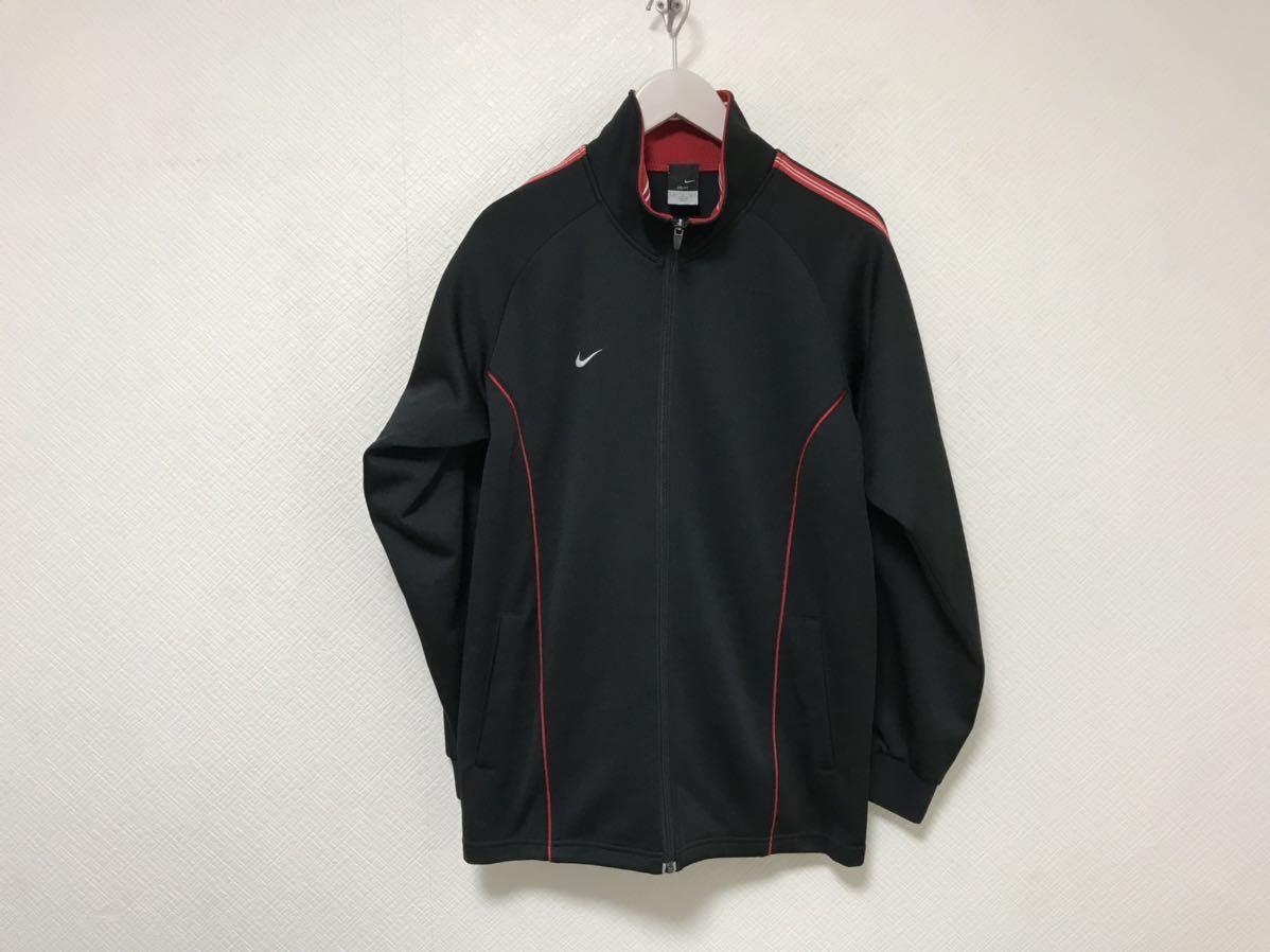 本物ナイキNIKEジャージロゴ刺繍トラックジャケット旅行トラベルメンズM黒ブラックジムスポーツウェアゴルフ