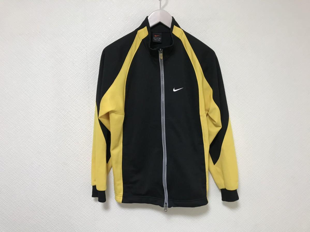本物ナイキNIKEジャージロゴ刺繍トラックジャケット旅行トラベルメンズS黒ブラックイエロージムスポーツウェアゴルフ日本製