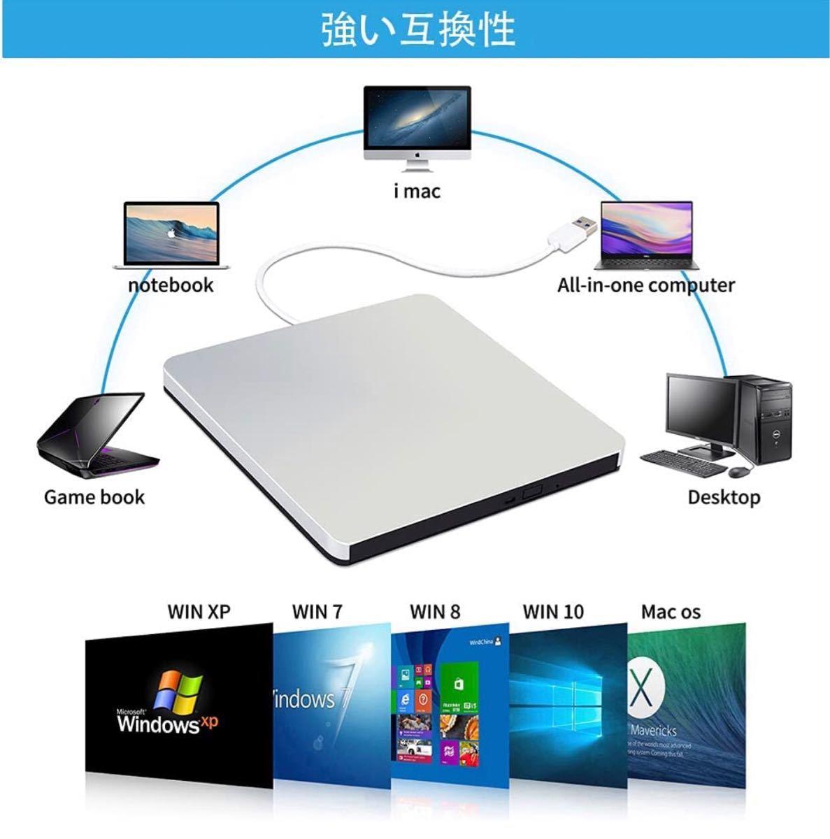 DVD USB 外付けDVDドライブ ポータブル USB3.0 Windows Linux