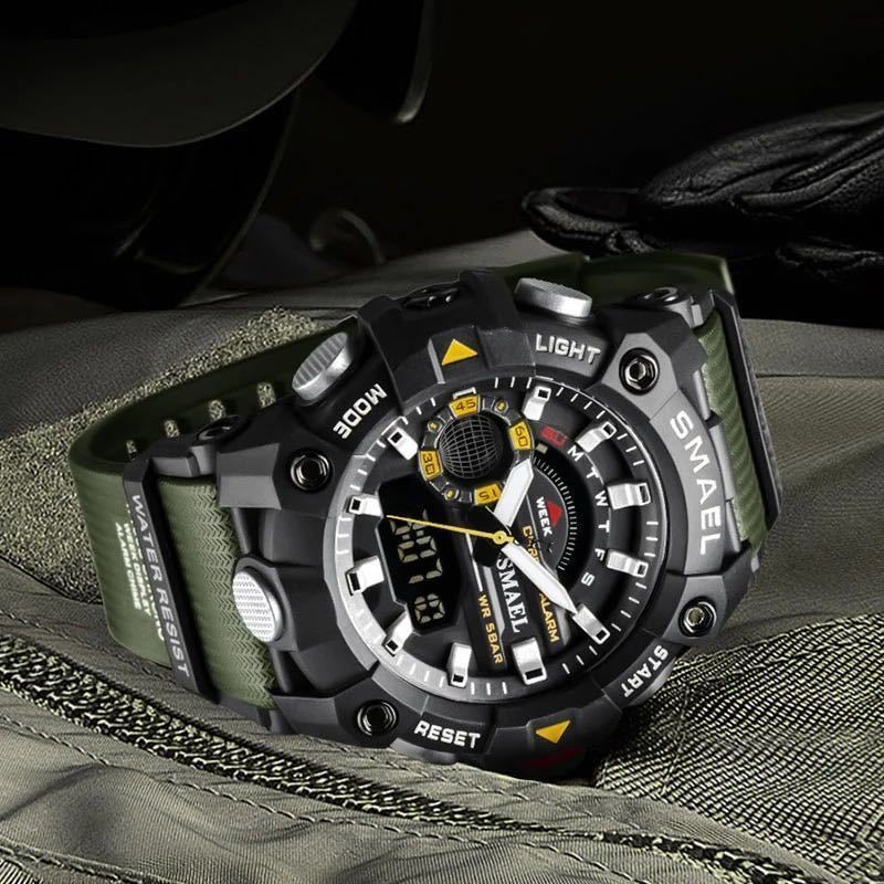 ◆ ミリタリー ウォッチ メンズ スポーツ 防水 腕時計 ストップウォッチ アラーム ledライト デジタル腕時計 メンズスポーツ時計 1738_画像2