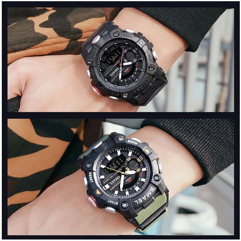 ◆ ミリタリー ウォッチ メンズ スポーツ 防水 腕時計 ストップウォッチ アラーム ledライト デジタル腕時計 メンズスポーツ時計 1740_画像4