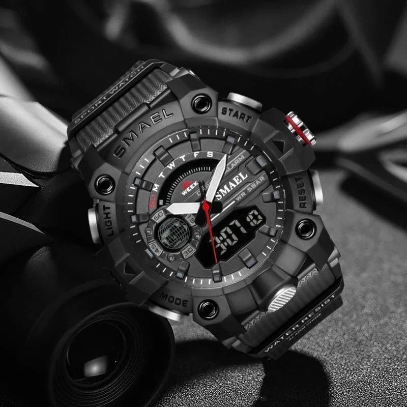 ◆ ミリタリー ウォッチ メンズ スポーツ 防水 腕時計 ストップウォッチ アラーム ledライト デジタル腕時計 メンズスポーツ時計 1740_画像3