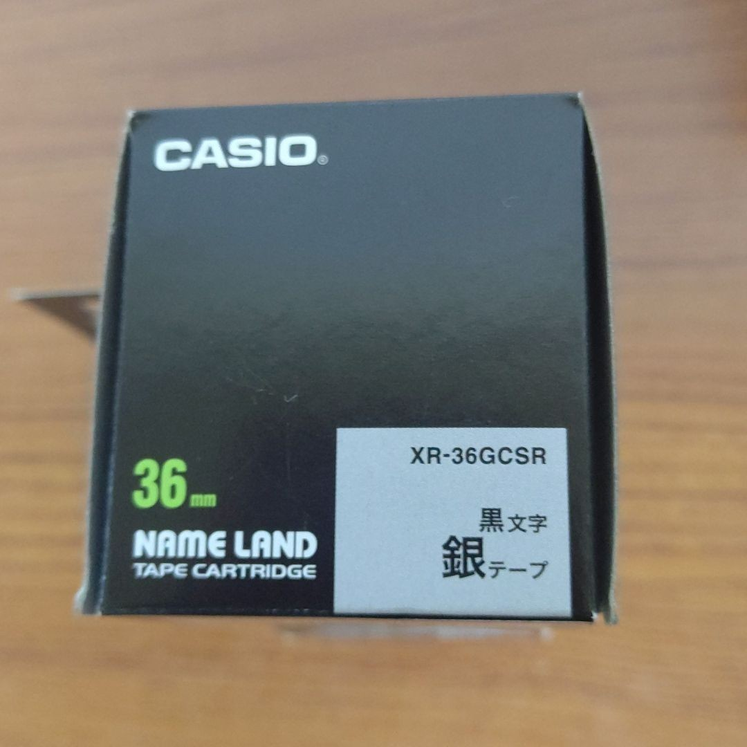 CASIO  カシオネームランドテープ 銀  黒文字 36mm