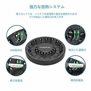 電池充電器 単3形充電池2100mAh Powerowl急速電池充電器単三単四ニッケル水素/ニカド充電池に対応 16本同時充電可_画像4