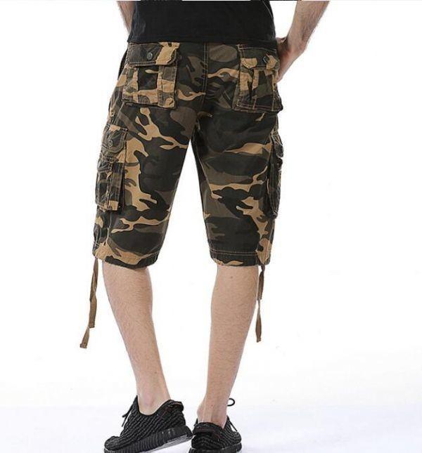 夏物メンズカーゴパンツ ショートパンツ ハーフパンツ 短パンワークパンツ ミリタリー パンツ 迷彩柄 夏物 作業着 6色黄色い w29~w40_画像3