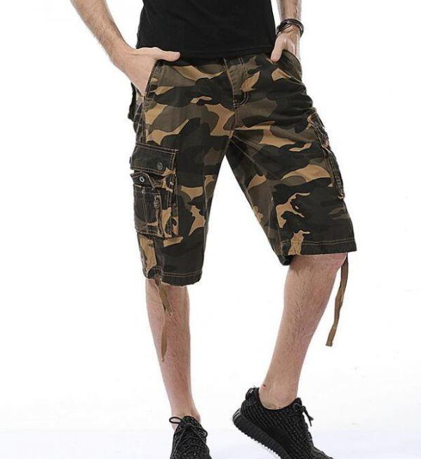 夏物メンズカーゴパンツ ショートパンツ ハーフパンツ 短パンワークパンツ ミリタリー パンツ 迷彩柄 夏物 作業着 6色黄色い w29~w40_画像2