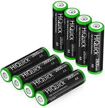 新品単3形 HiQuick 電池 単3 充電式 単3充電池 ニッケル水素 充電池 2800mAh 8本入り ケース2I6BK_画像1