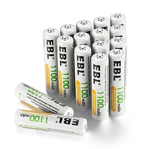 新品単4電池1100mAh 16本パック EBL 単4形充電池 充電式ニッケル水素電池 高容量1100mAh 16本R6PC_画像1