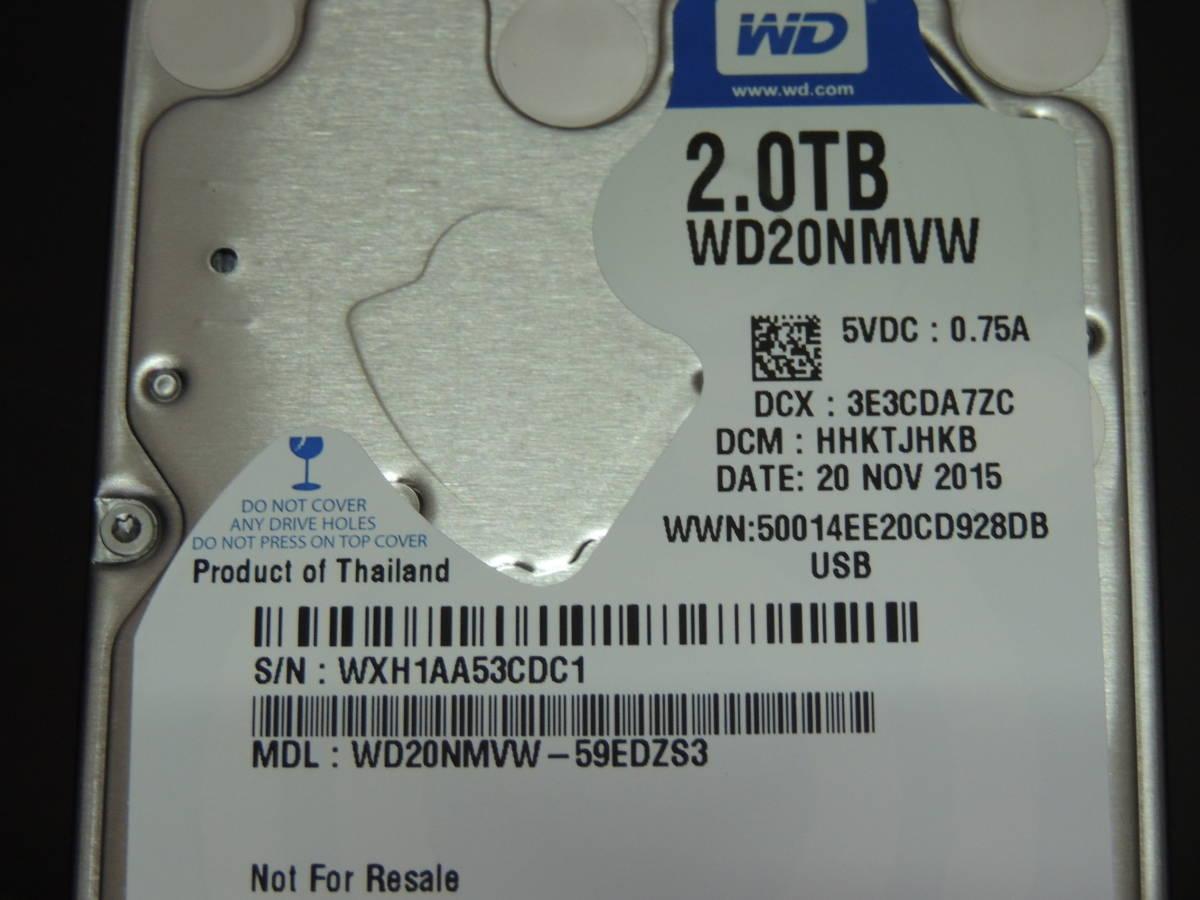 【検品済み/使用415時間】WD Blue 2TB HDD WD20NMVW 訳あり品 管理:t-83_画像4