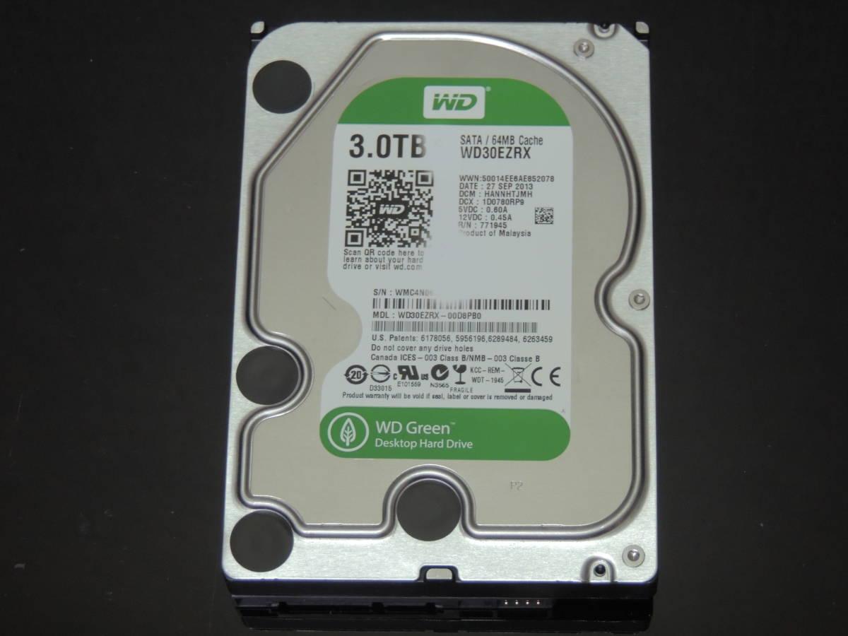 【検品済み】WD Green 3TB HDD 3.5インチ WD30EZRX (使用10447時間) 管理:e-54_画像1