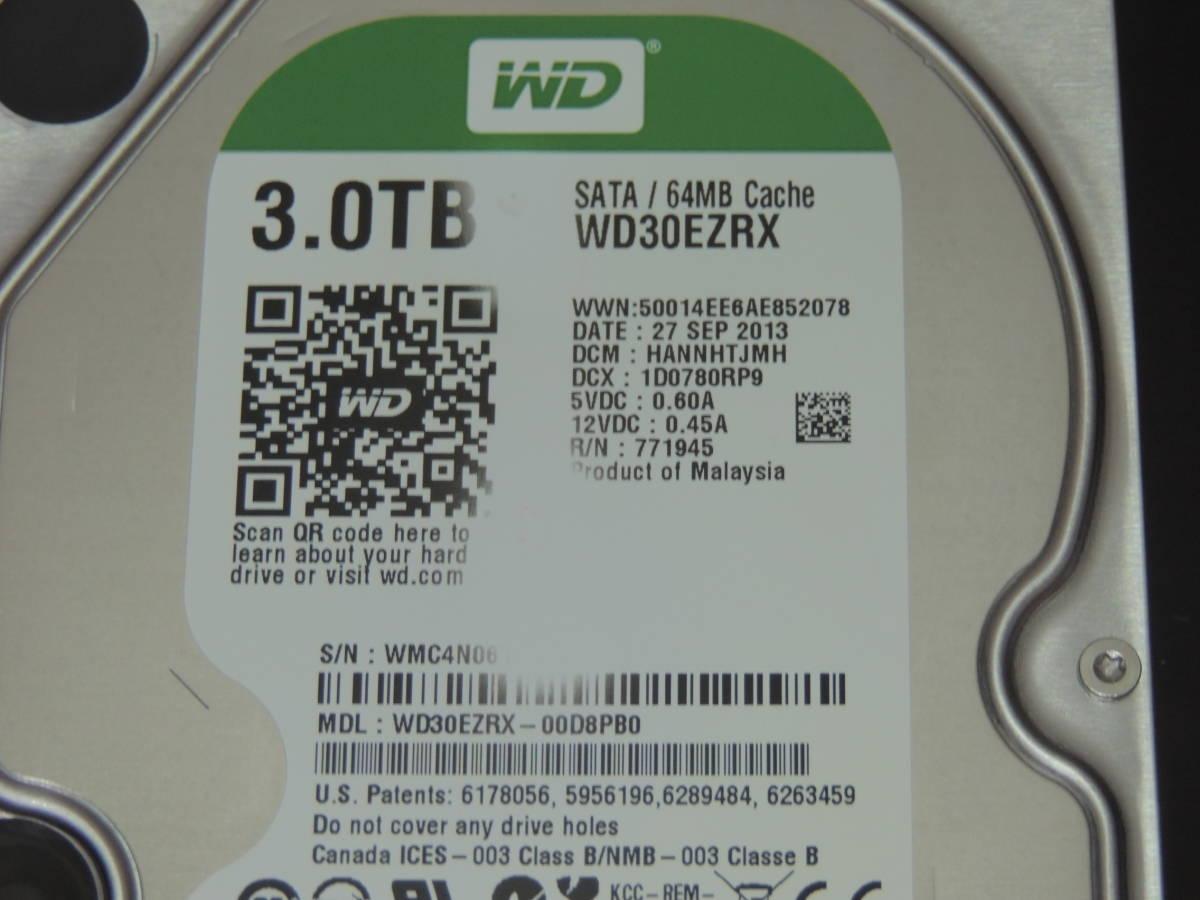 【検品済み】WD Green 3TB HDD 3.5インチ WD30EZRX (使用10447時間) 管理:e-54_画像4