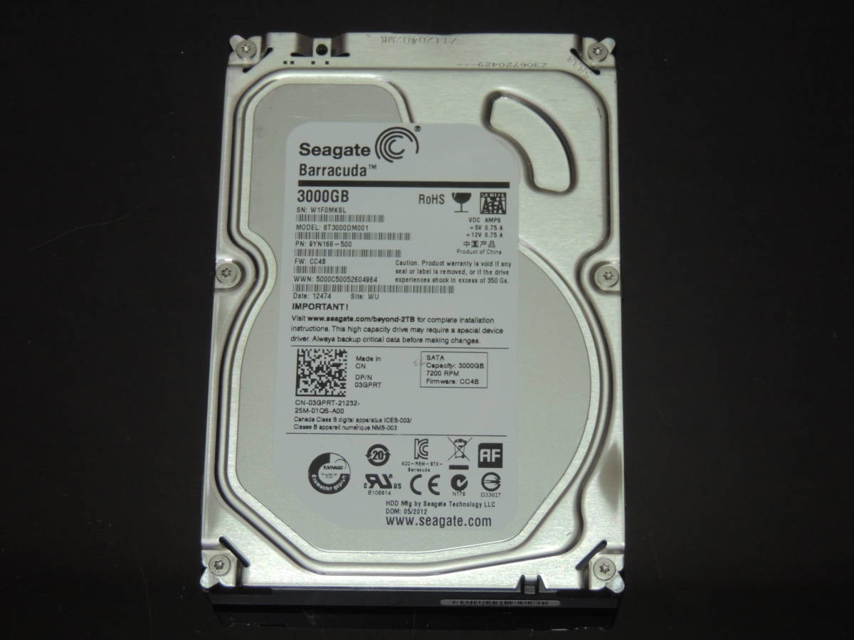 【検品済み】Seagate 3TB HDD 3.5インチ ST3000DM001 (使用2980時間) 管理:e-39_画像1