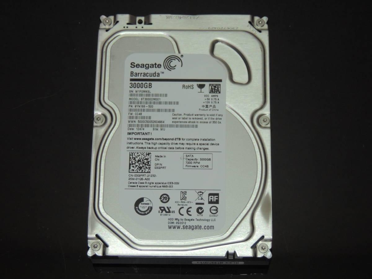 【検品済み】Seagate 3TB HDD 3.5インチ ST3000DM001 (使用2980時間) 管理:e-39_画像4