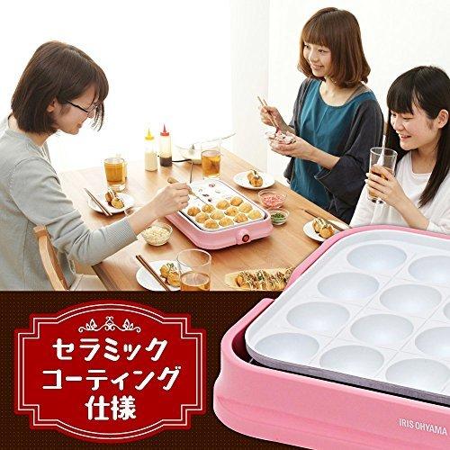 ピンク アイリスオーヤマ たこ焼き器 2WAY ( たこ焼きプレート 24穴 平面プレート ) セラミックコート ピンク PHP_画像3