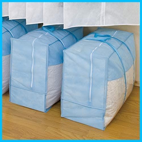 ★色:ブルー3枚組_スタイル:単品★ アストロ 羽毛布団 収納袋 3枚 シングル ダブル兼用 ブルー 不織布 持ち手付き 縦型 102-15_画像6