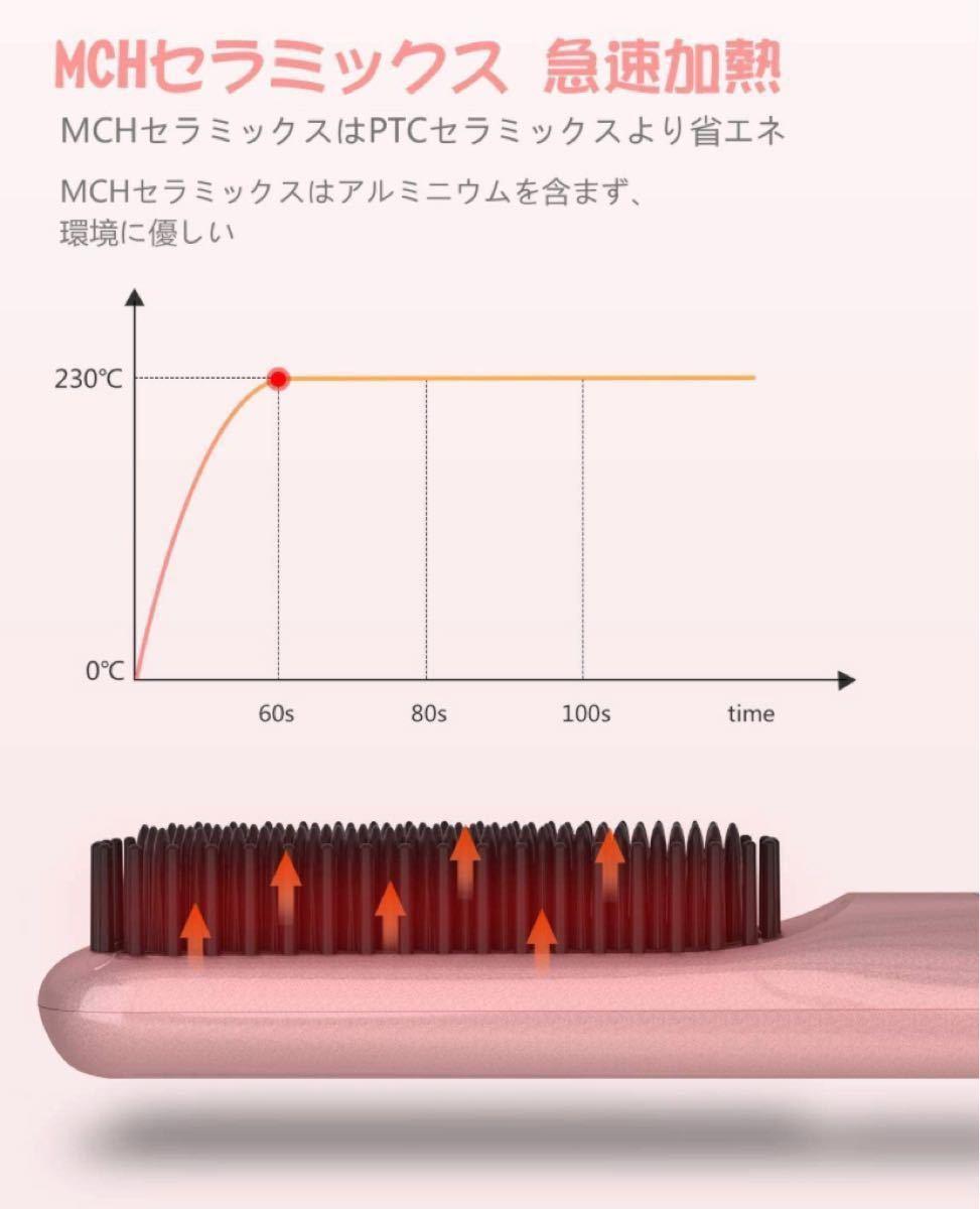 ストレートブラシ ヘアアイロン ブラシアイロン マイナスイオン 温度調節可80℃から230℃ 自動オフ機能 海外対応 PSE認証済
