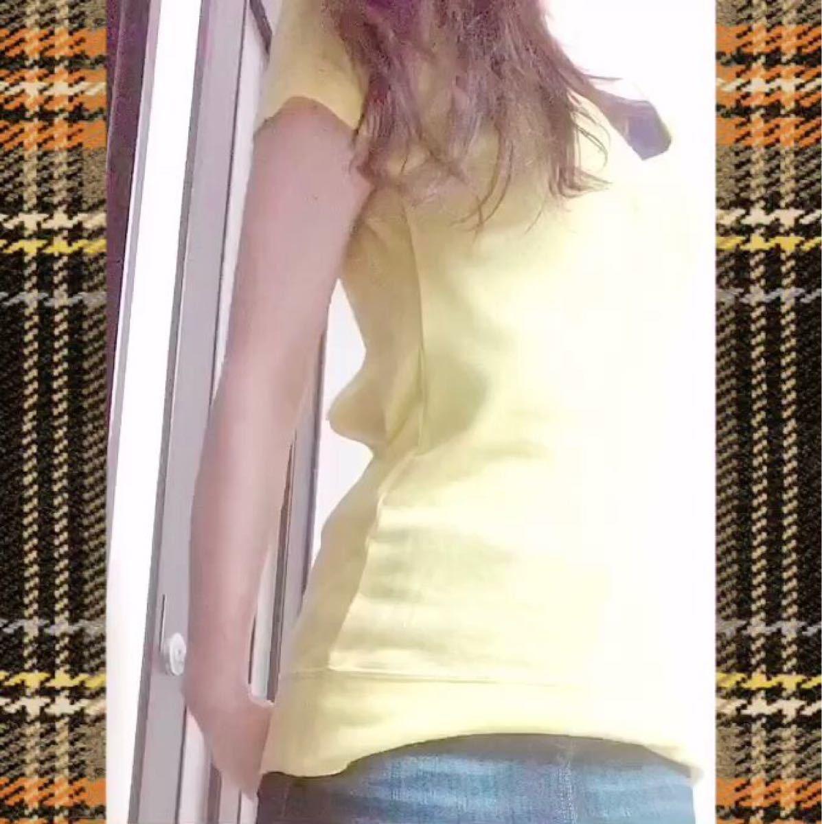 オープンバック Tシャツ USED 黄色
