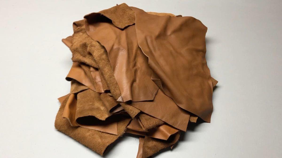 レザークラフト 牛革 ハギレ 60サイズ箱 ハンドメイド 工業用ミシン 材料 茶 ブラウン