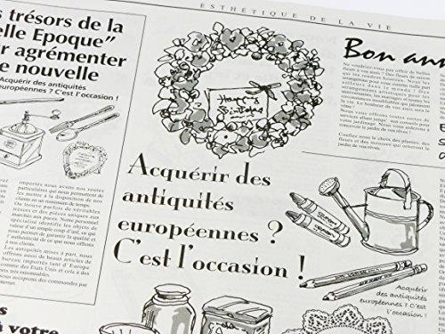 フランスの新聞紙風プリント お花やプレゼント,ギフト商品のラッピングに! 仏字・英字 包装紙 20枚 【ノーブランド】_画像4