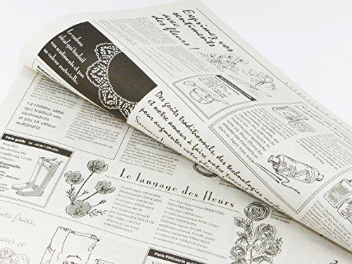 フランスの新聞紙風プリント お花やプレゼント,ギフト商品のラッピングに! 仏字・英字 包装紙 20枚 【ノーブランド】_画像2