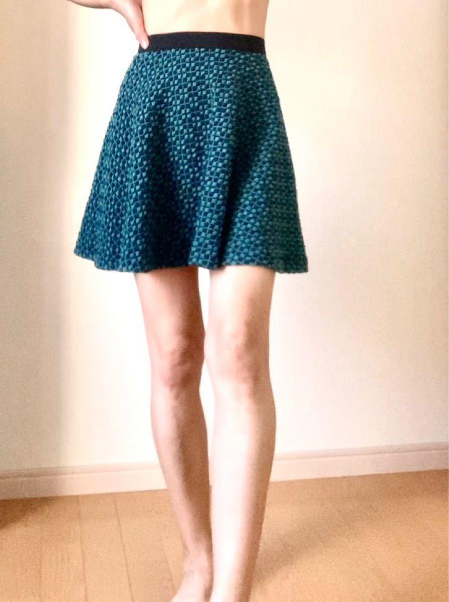 ワッフルキルティングのフレアスカート