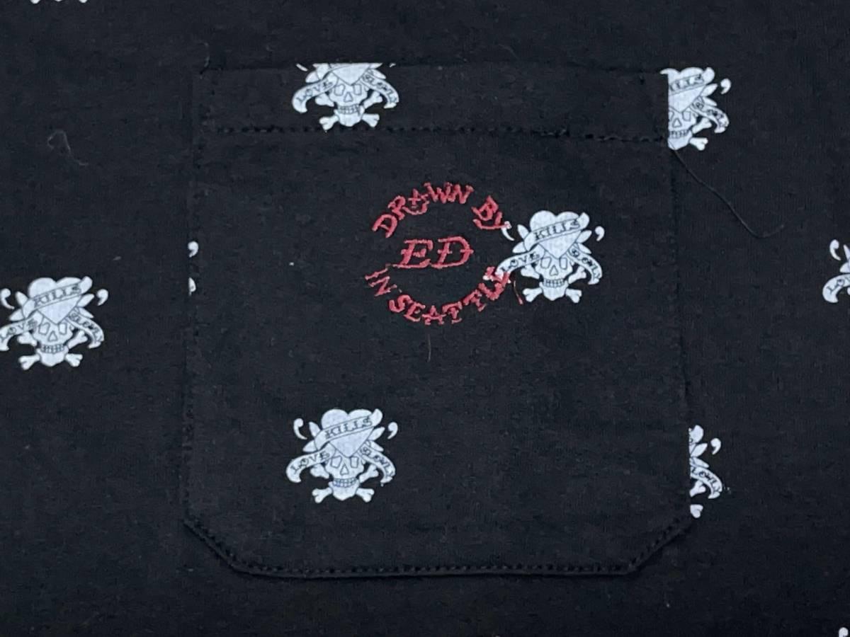 ☆送料無料☆ Ed Hardy エドハーディー 未使用 タグ付き 半袖 胸ポケット Vネック Tシャツ メンズ M ブラック トップス 中古 即決_画像5