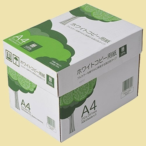 未使用 新品 高白色 APP K-IQ 2500枚(500枚×5冊) PEFC認証 ホワイトコピ-用紙 A4 白色度93% 紙厚0.09mm_画像1