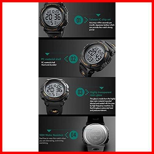 2F 新品 新品Timever(タイムエバー)デジタル腕時計 スポーツウォッチ 防水腕時計 watch アラーム 迅速対応 メンズ led 新品 新品 1T_画像6