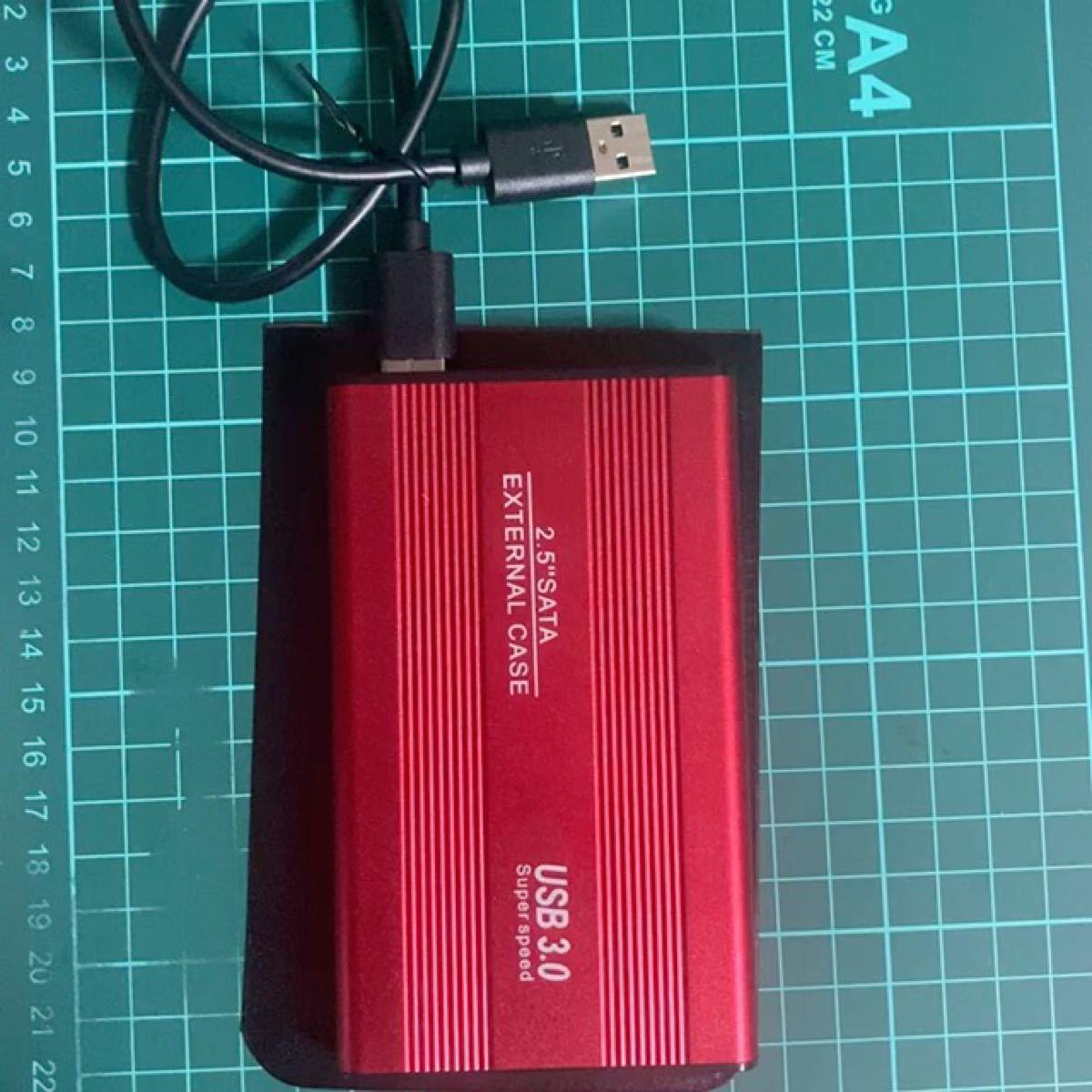 外付けポータブルHDD赤 USB3.0 1TB ケース付きNo5