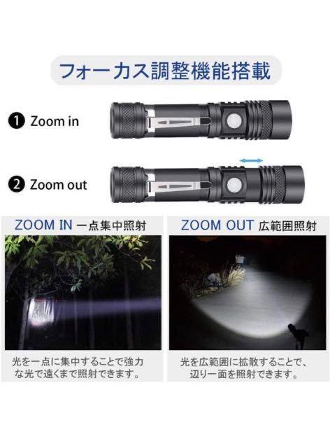 懐中電灯 ledライト USB充電式 電池内蔵 - ズーム式 4モード 強力 大容量 超高輝度 軽量 停電 防災対策 2つセッド