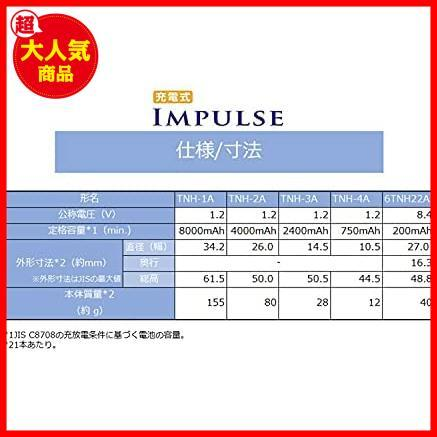 ★残1個!色 TOSHIBA ニッケル水素電池 充電式IMPULSE 高容量タイプ ZdI78 単3形充電池(min.2,400mAh) 4本 TNH-3A 4P_画像3