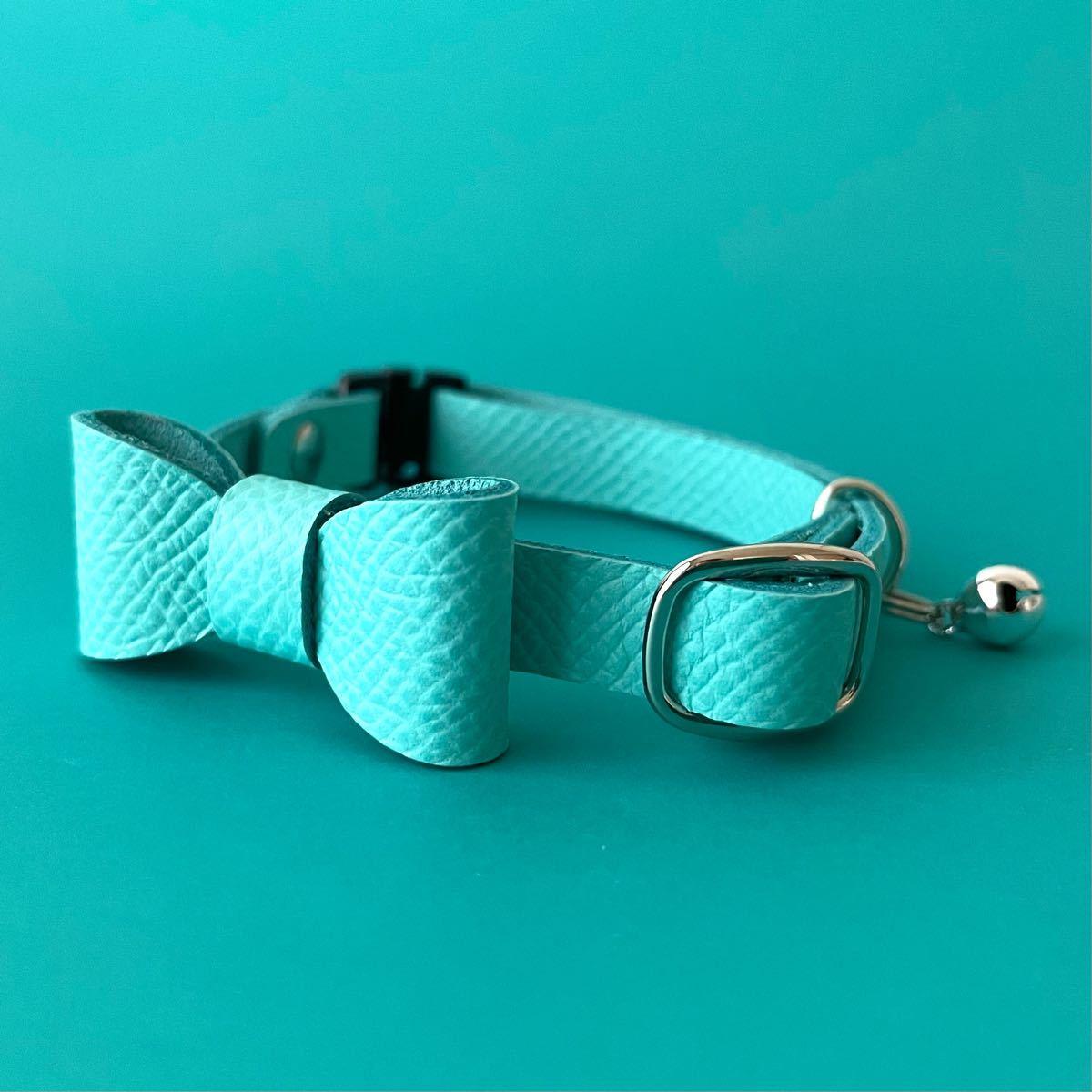 猫首輪 リボン フェアリーブルー 皮革 セーフティ