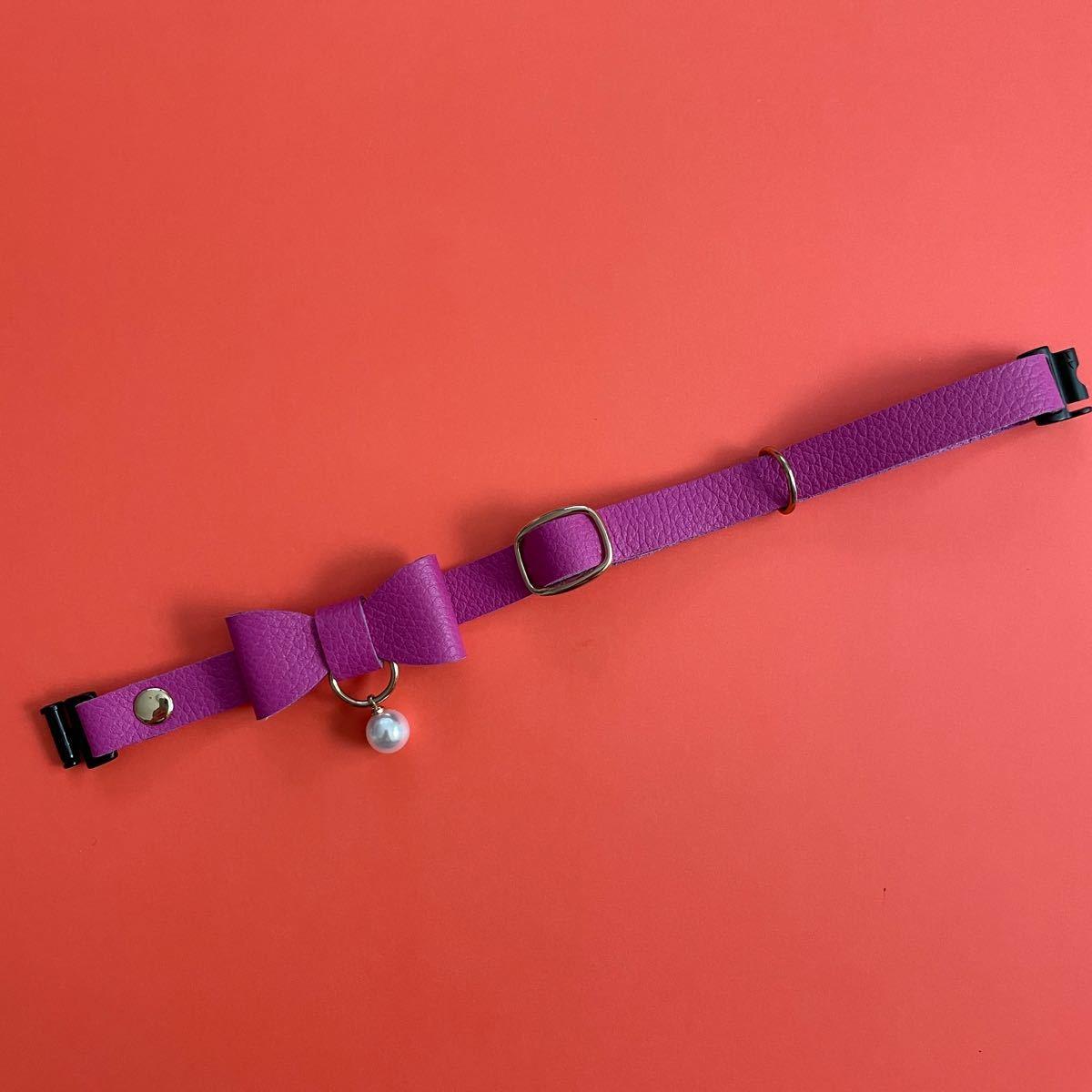 猫首輪 パールリボン フランス製レザー 皮革