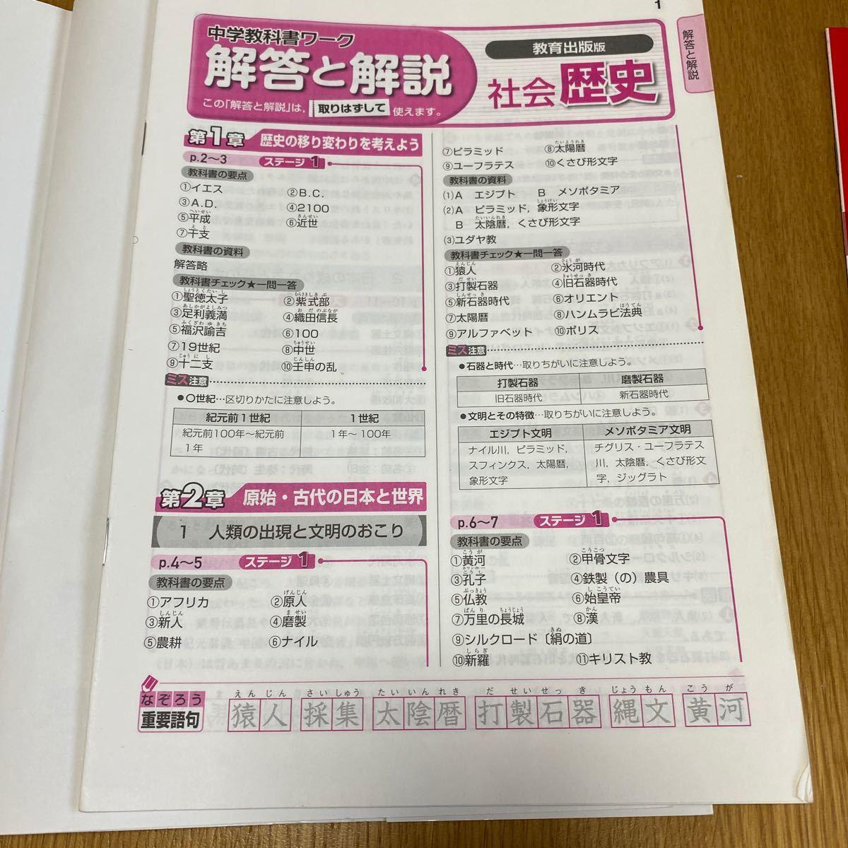 中学社会 歴史 教科書ワーク 問題集