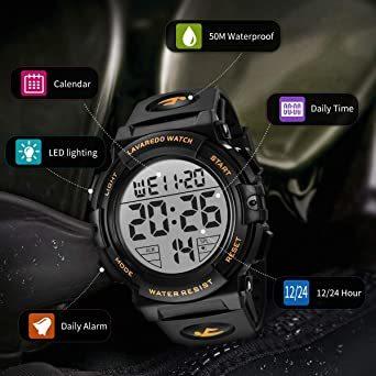 02.ゴールド 腕時計 メンズ デジタル スポーツ 50メートル防水 おしゃれ 多機能 LED表示 アウトドア 腕時計_画像2