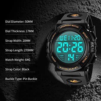 02.ゴールド 腕時計 メンズ デジタル スポーツ 50メートル防水 おしゃれ 多機能 LED表示 アウトドア 腕時計_画像7