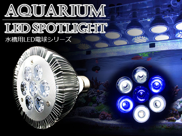 LED 電球 スポットライト 14W 白4/青2/紫外線1灯UV 水槽照明 E26 LEDスポットライト 電気 水草 サンゴ 熱帯魚 観賞魚 植物育成_画像1