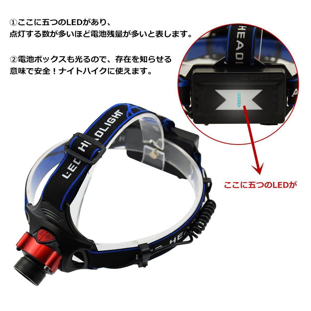 ヘッドライト 充電式 LED ヘッドランプ 防水 軽量  LEDヘッドライト LEDヘッドランプ 高輝度 充電式