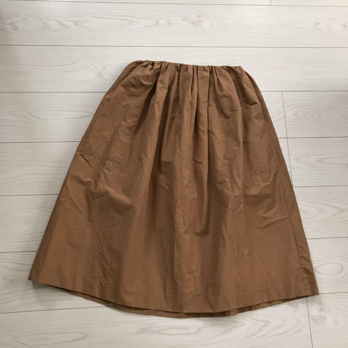 ニコアンドniko andゆったりフリーサイズ着丈70ウエスト平置36ゴム秋冬物スカート試着のみ美品 ギャザースカート