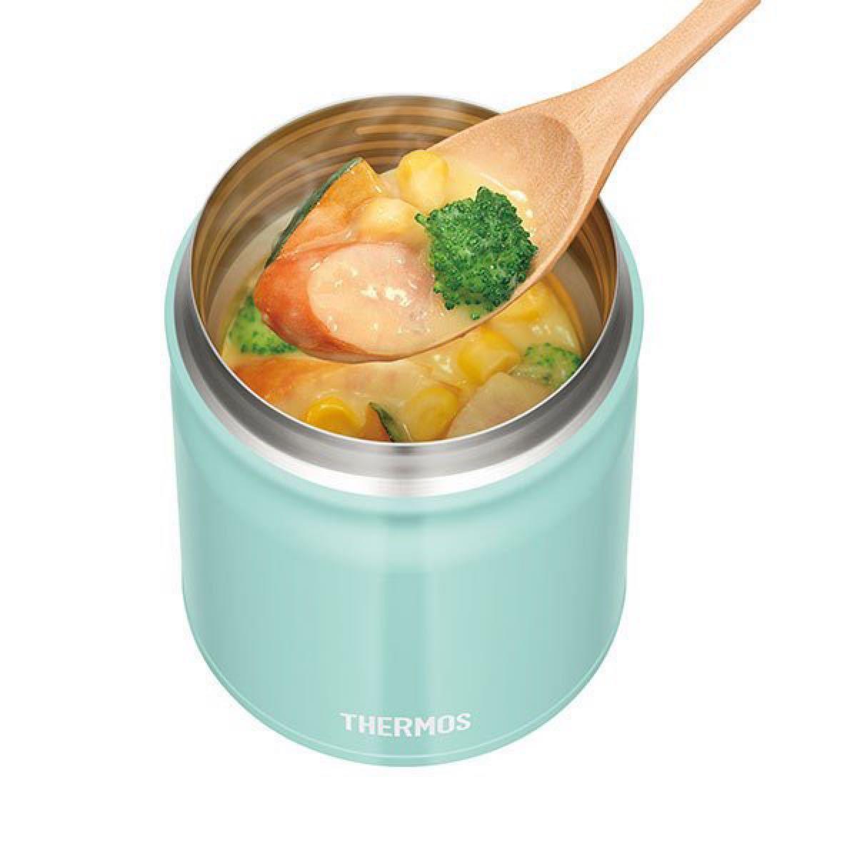 サーモス 真空断熱スープジャー JBT-300 ライトブルー、スープジャーポーチ、スプーン・ハシセット 3点セット 未使用新品
