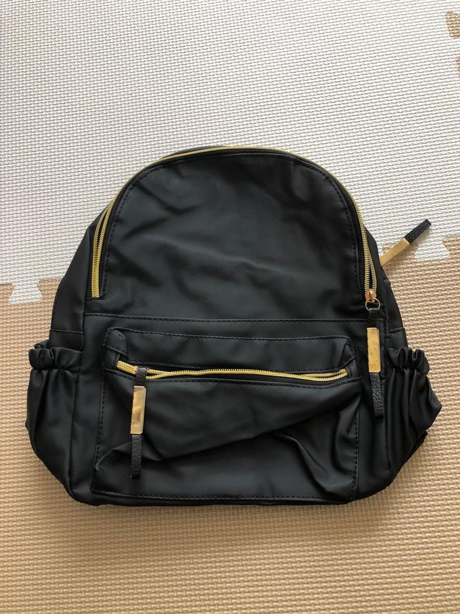 ブラック リュック マザーズバッグ 大容量 ママ シンプル