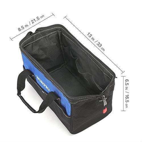 !- WORKPRO ツールバッグ 工具差し入れ 道具袋 工具バッグ 大口収納 600Dオックスフォード ワイドオープン 幅33cm_画像2
