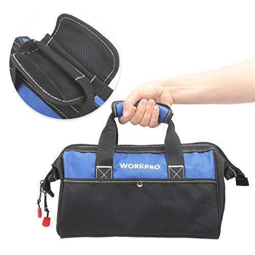 !- WORKPRO ツールバッグ 工具差し入れ 道具袋 工具バッグ 大口収納 600Dオックスフォード ワイドオープン 幅33cm_画像6