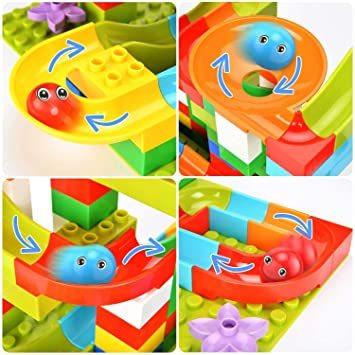Jiudam ビーズコースター 知育玩具 スロープ ルーピング セット 子供 組み立 DIY 積み木 男の子 女の子 誕生日の_画像4