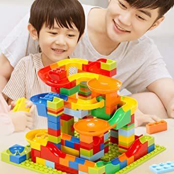 Jiudam ビーズコースター 知育玩具 スロープ ルーピング セット 子供 組み立 DIY 積み木 男の子 女の子 誕生日の_画像8